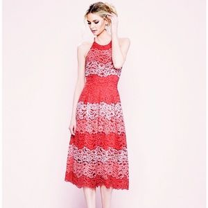 Belle By Badgley Mischka Red Peggy Lace Dress 8